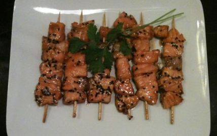 """""""Mes brochettes de saumon à la japonaise"""" notée 4/5 par 7 votants."""