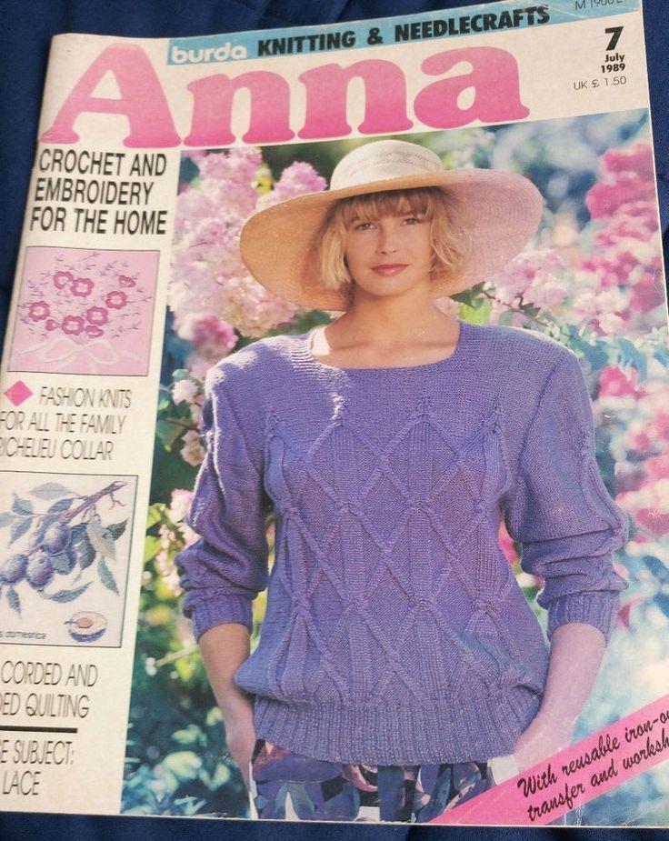 Anna Burda Needlework & Crafts magazine July 1989 knitting crochet embroidery #AnnaBurda