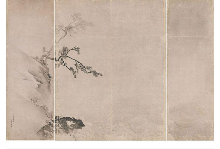 円山応挙筆:紙本墨画「山水図」