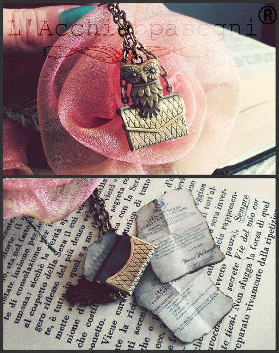 Owl Post necklace - Harry Potter Jewelry - Bronze - Locket - Letter Hogwarts Admission - miniature