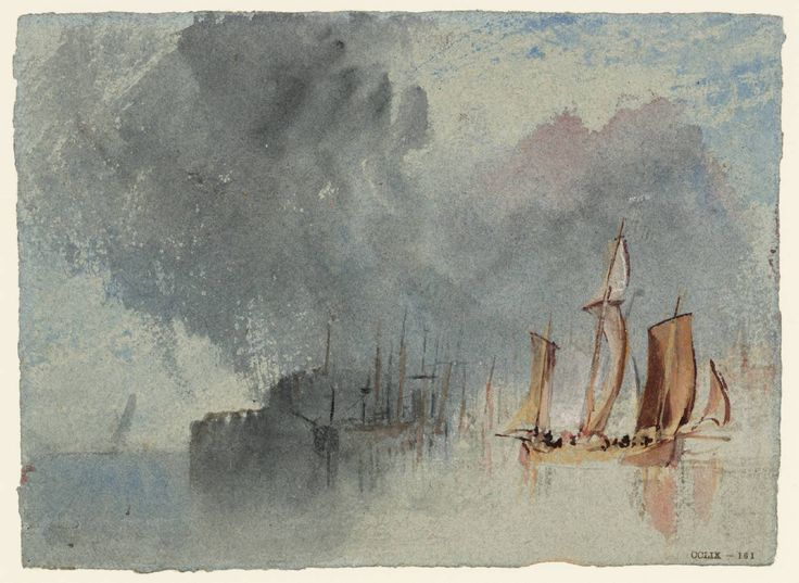 Joseph Mallord William Turner, 'A Chasse-Marrée and Other Vessels under a Cloudy Sky' c.1826-8