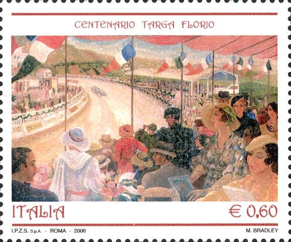 "2006 - Centenario della corsa automobilistica ""Targa Florio"" - Dipinto di Margaret Bradley"