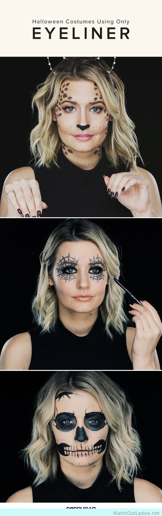 Who thought that you can have an amazing Halloween costume DIY with only an eyeliner?