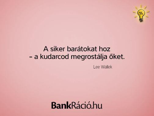 A siker barátokat hoz - a kudarcod megrostálja őket. - Lee Wallek, www.bankracio.hu idézet