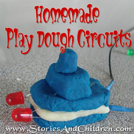 Homemade Play Dough Circuits - using conductive and non-conductive homemade playdough. Looks fun!