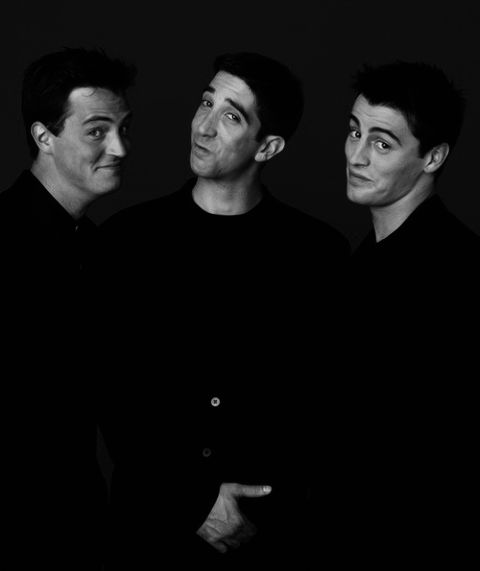 Matthew Perry (Chandler Bing) | David Schwimmer (Ross Geller)  and Matt LeBlanc (Joey Tribbiani) #Friends