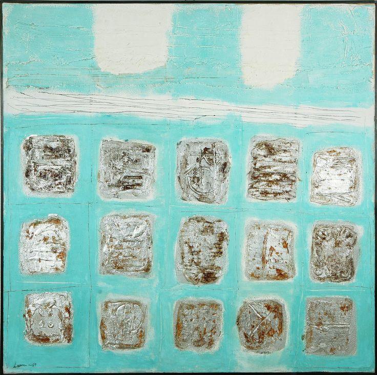 Ahti Lavonen: Plastinen kompositio, 1964, öljy, 123x123 cm - Hagelstam Modern K138