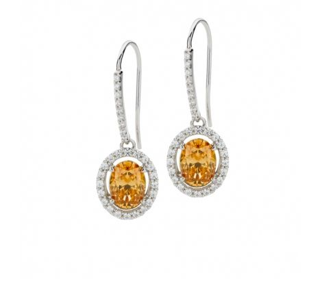 These beautiful Expressions sterling silver amber colour & white cubic zirconia oval cluster drop earrings are designed for the woman who resinates style and elegance. These studs are made with SWAROVSKI ZIRCONIA and feature a stunning 8.6mm amber stone and 29 white stones on each earring. The magnificent amber sparkle from these studs will ensure that your ears become a showpiece and easy hook design means you will look stunning with relative ease.