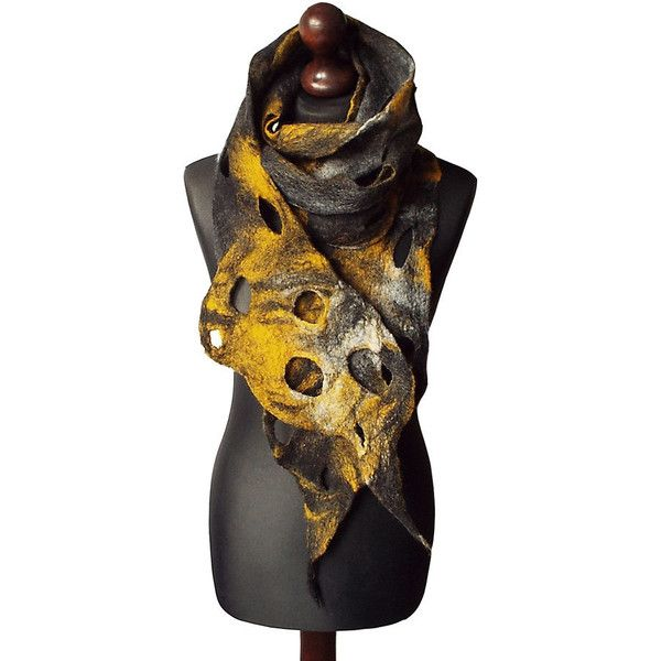 Felted scarf felt scarf felted collar handmade art to wear grey yellow... (€64) ❤ liked on Polyvore featuring accessories, scarves, gray scarves, yellow shawl, yellow scarves, bohemian scarves and shawl scarves