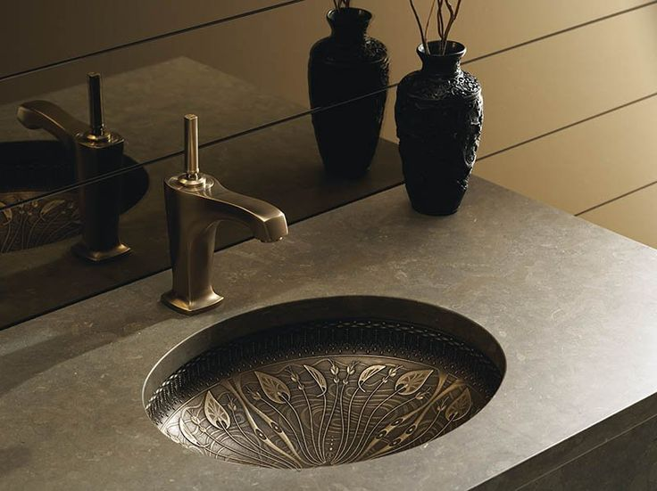 lilies lore bronze bathroom sink is derived from the rich and highly stylized plant motifs of art nouveau breathing new life into an oldworld material