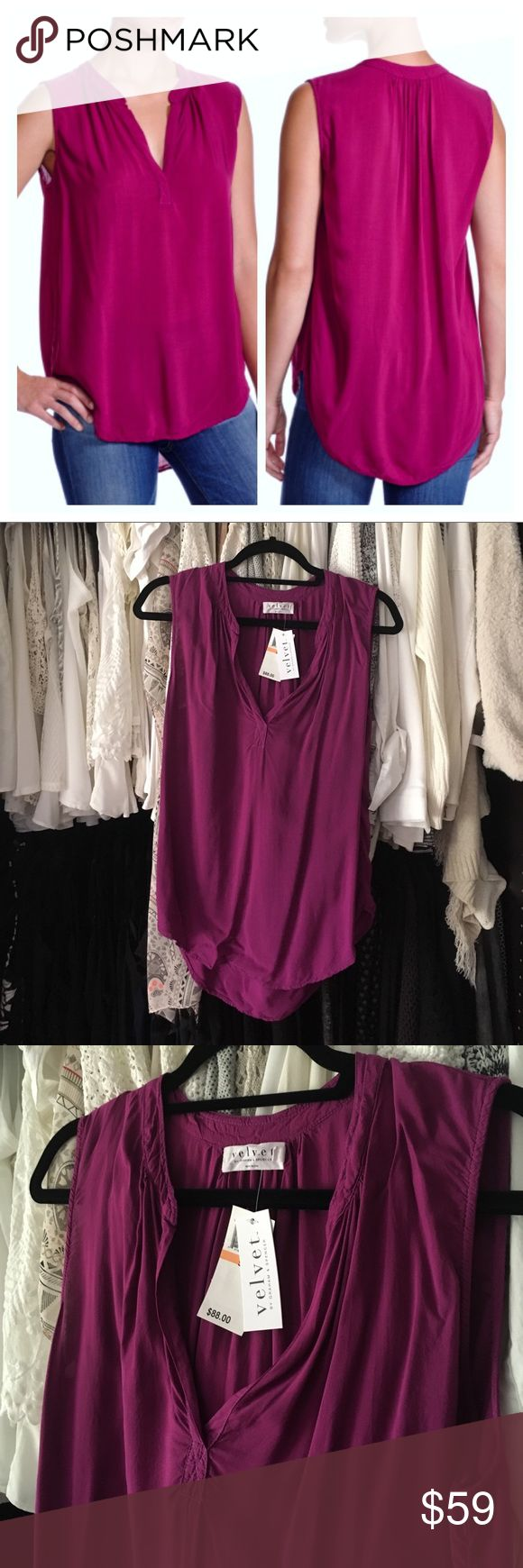 """Velvet by Graham and Spencer A soft and flowy tank that pairs with jeans, shorts, and skirts in a gorgeous magenta plum tone. 21"""" bust laying flat, 30"""" long at back- 27"""" at front.                                               ✅AVAILABLE ✅ LOWEST PRICE (w/o bundle) ✅ SAVE 20% 3+ ITEMS (@checkout) 🚫TRADES 🚫HOLDS 🆓 ITEMS  AVAILABLE  🐾 CRUELTY FREE 📦 SHIP 2X/ Wk Velvet by Graham & Spencer Tops Tank Tops"""