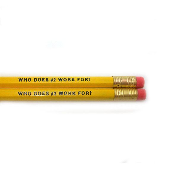 Set of 2 Who Does #2 Work For Pencils Austin Powers Quote in Yellow on Etsy, $3.00