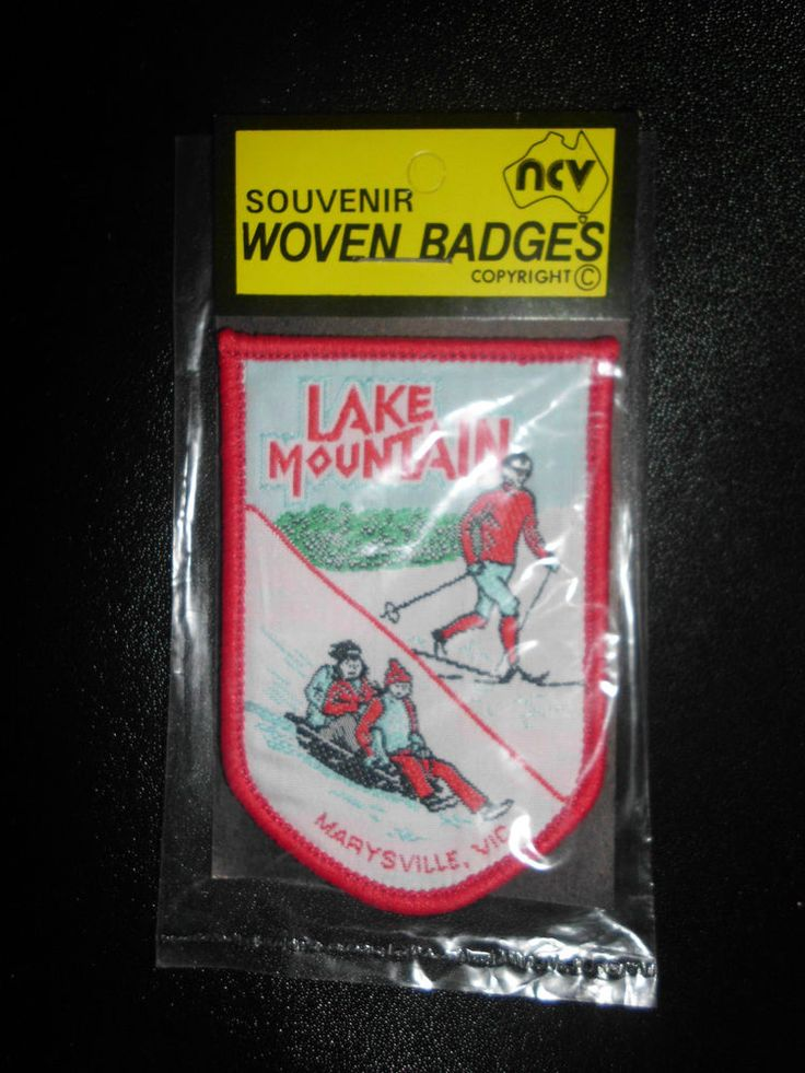 Great souvenir patch - sold for $46.50 - SOUVENIR CLOTH BADGE LAKE MOUNTAIN MARYSVILLE VIC NEW IN PACKET