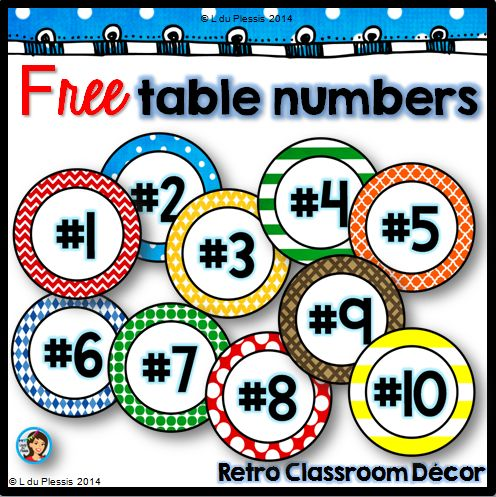 """Free table numbers, perfect for back to school classroom decorating! ....Follow for Free """"too-neat-not-to-keep"""" teaching tools & other fun stuff :)"""