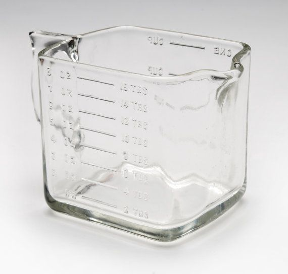 Vintage Measuring Glass Square 1 Cup Cooking Pour Spout