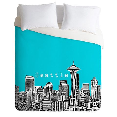 DENY Designs Home Accessories | Bird Ave Seattle Teal Duvet Cover