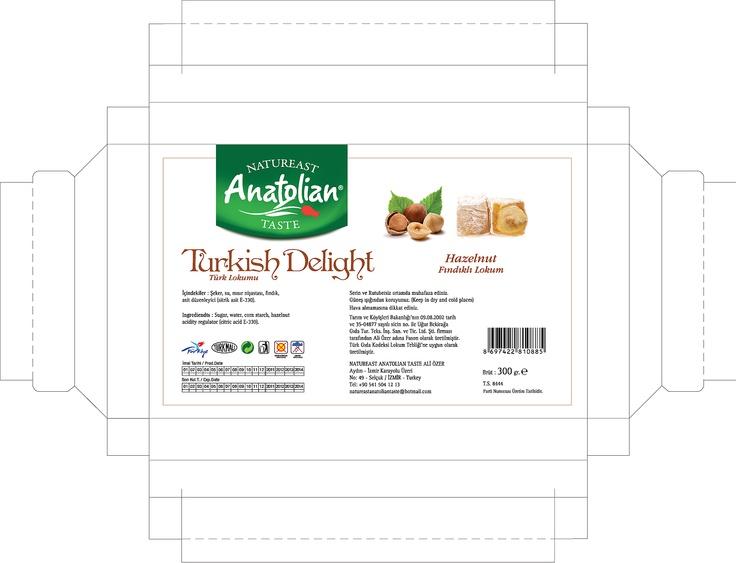 anatolian fındıklı lokum kutusu tasarımı. kurumsal tasarım kriterleri dikkate alınarak uygulandı. turkish delight vazgeçemediğimiz lezzet tabiki.