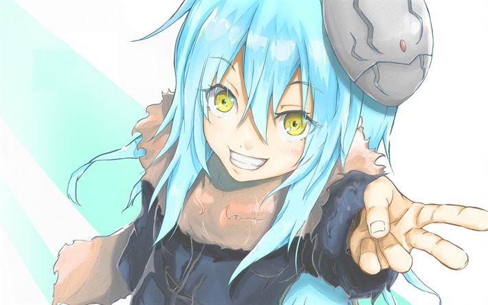 Download Wallpapers Rimuru Tempest Yellow Eyes Dai Mao Blue