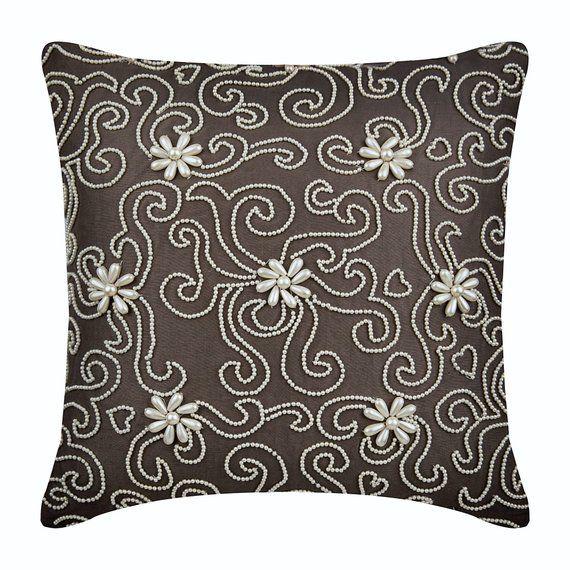 Linen Brown Throw Pillow Custom 16 X16