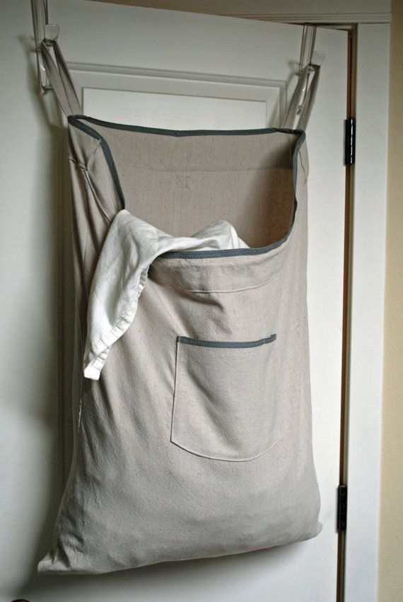 Hanging Hamper Laundry Bag  --Dorm Room-- Drawstring Bag with Shoulder Strap -- Cotton Canvas