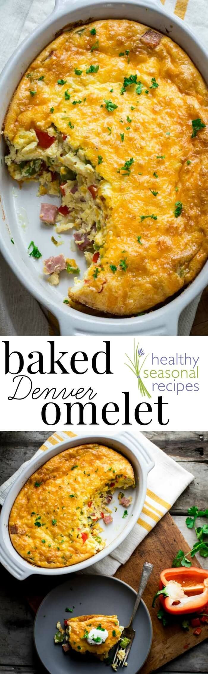 This easy and family friendly Baked Denver Omelet serves 8 and is ready in just 45 minutes! It's great reheated and even makes an awesome lunch or dinner.