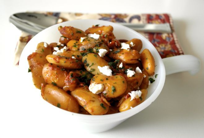 Gigantes Plaki - Greek Roasted Beans in Tomato sauce. Really good! Used a fraction of the oil and worked fine. The feta on top ties it together.