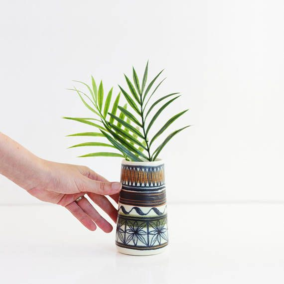 Mid Century Modern Vase from Spain / Mid Century Modern Hand Painted Vase / Boho Modern Pottery Vase / Felanitx, Cales de Mallorca Spain