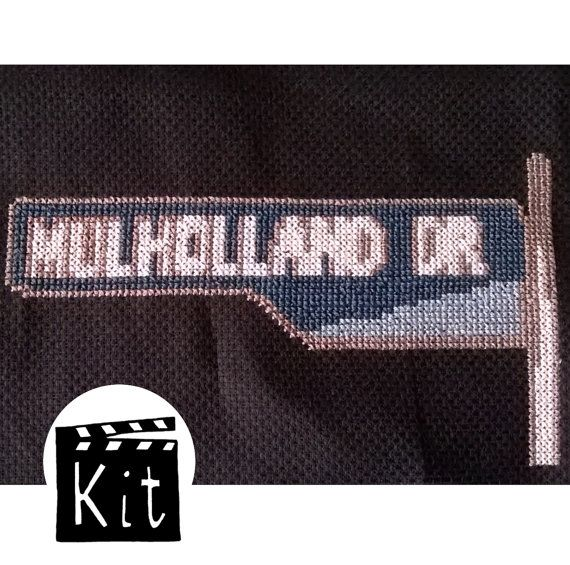 Mulholland Drive road sign  cross stitch kit   by PulpStitchion
