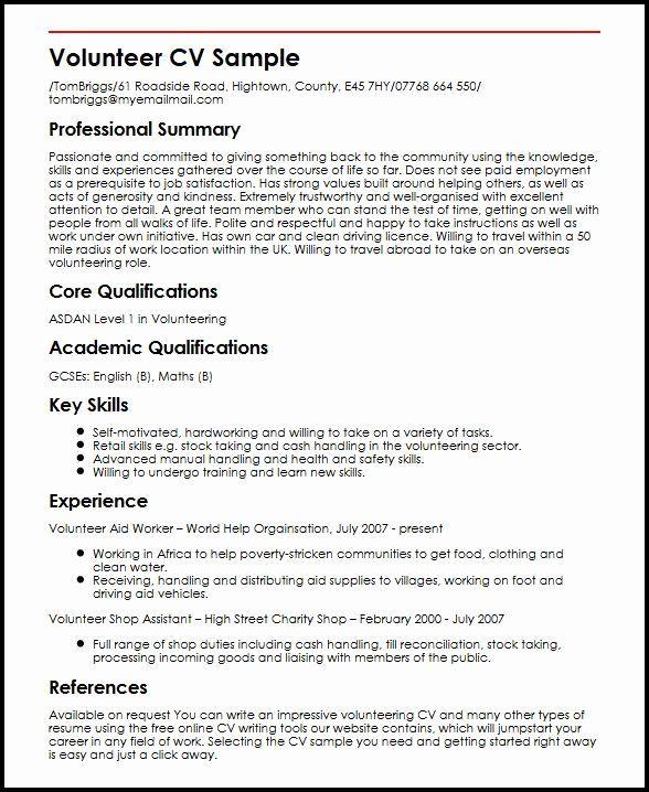 Volunteer Experience Resume Examples Beautiful Cv Template Volunteer Experience In 2020 Resume Examples Resume Templates Volunteer Work
