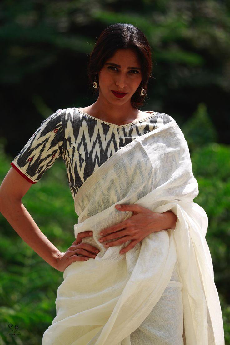White Black Indian Monsoon Ikat Cotton Blouse