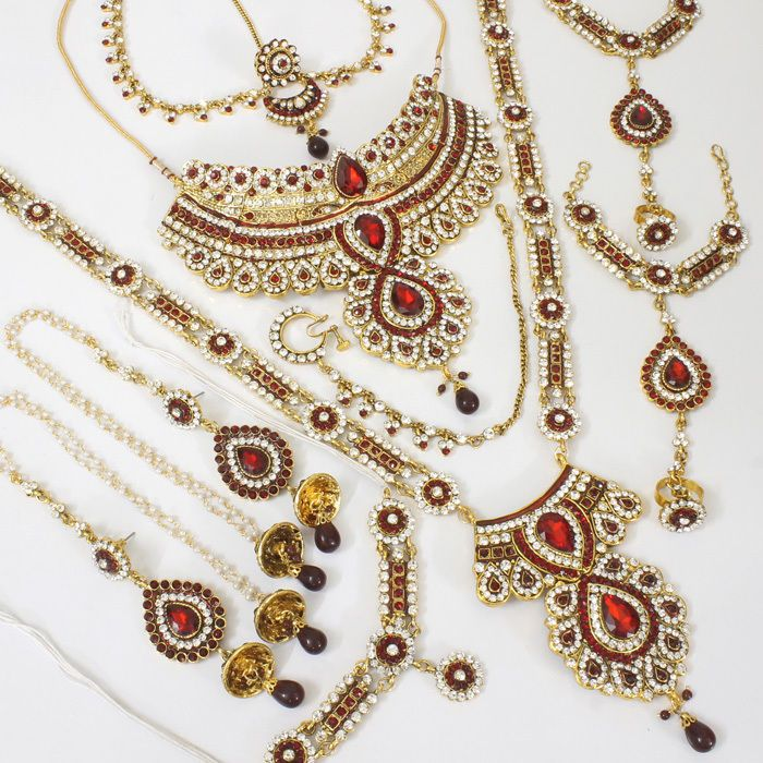 GOLD TONE MAROON BRIDAL NECKLACE @ Indiatrend For $130.99USD With Free Shiping Worlwide