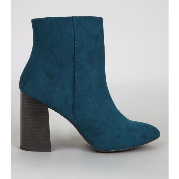 New Look Blue Suedette Block Heel Boots (2.170 RUB) ❤ liked on Polyvore featuring shoes, boots, petrol blue, blue boots, high heeled footwear, new look shoes, zip boots and blue shoes