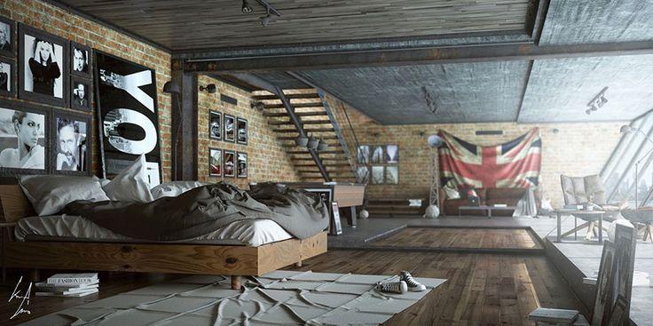 Camera da letto in stile industriale 16