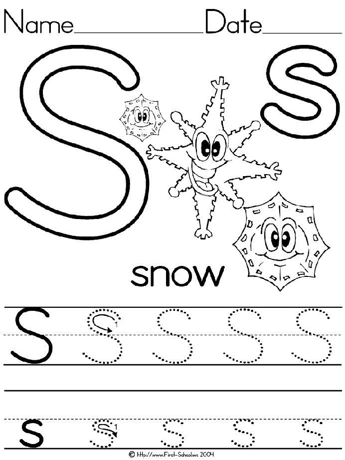 Alphabet Letter S Snow Standard Block Manuscript