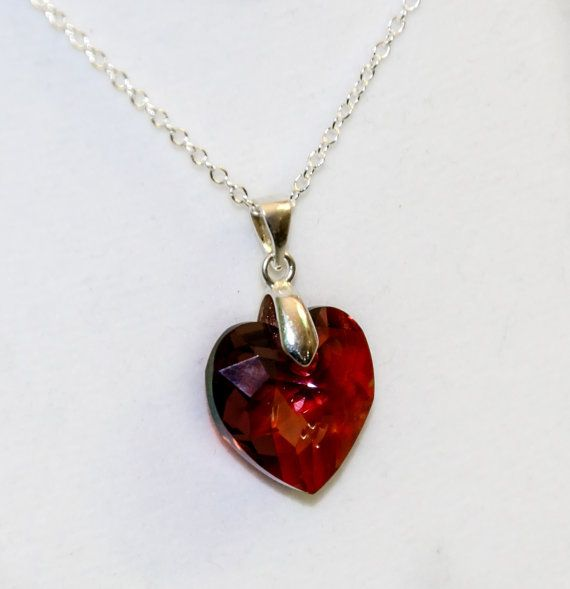 Red Swarovski heart necklace, sterling silver, valentine's gift, red heart necklace, Swarovski heart crystal, romantic jewelry gift