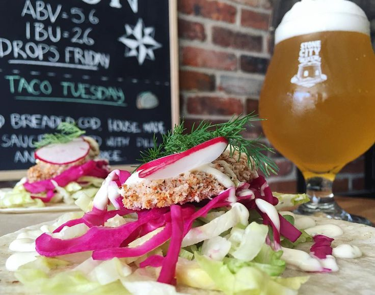 taco tuesday  | COD GOT YOUR TONGUE: Windward breaded cod on a bed of shredded iceberg pickled red cabbage and house-made savoury tartar sauce topped with fresh dill and sliced radishes by stonecityales