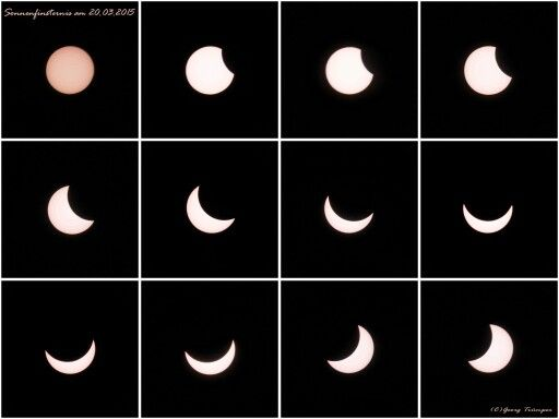 Series of photos of the partial solar eclipse on friday, 03/20/2015, in Germany; photos shot by Georg T.