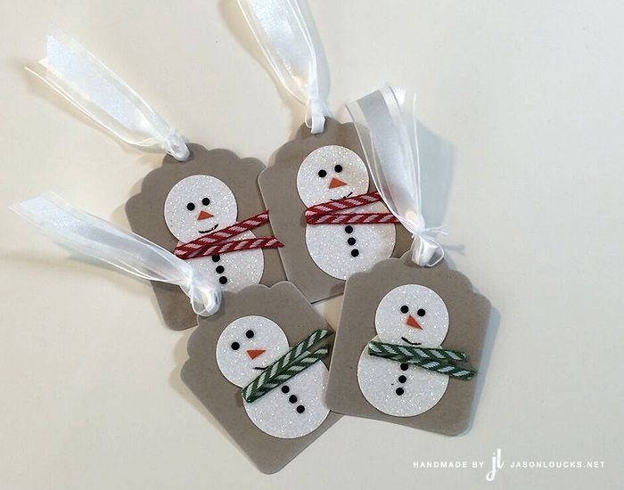 Stampin' Up!: 12 Days of Christmas 2015 - Day 4 / Dazzling Diamonds Snowmen Tags