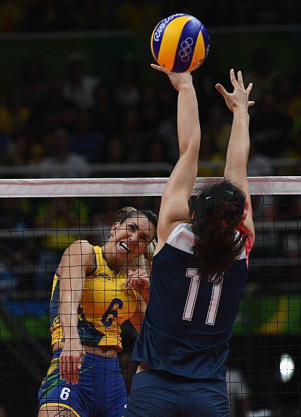 Thaisa Menezes of Brazil pikes the ball during the Women's Quarterfinal match…
