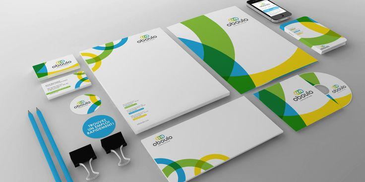 OBOULO branding Papeterie, entête de lettre, pochette corporative, cartes affaires, logo, enveloppe, outils identitaires