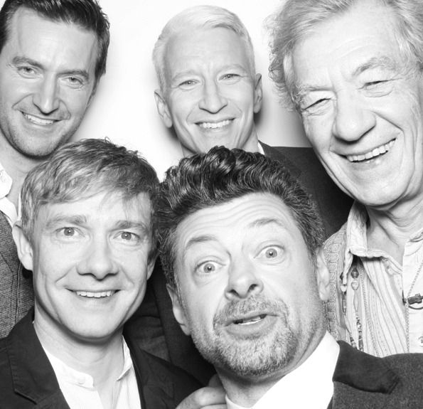 The cast of The Hobbit in Anderson Cooper's photobooth - Perfect Cast : Richard Armitage, Sir Ian McKellen, Martin Freeman and Andy Serkis
