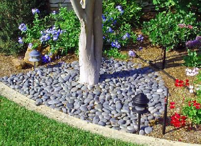 Rocks In The Flower Beds Instead Of Mulch Easier To Keep