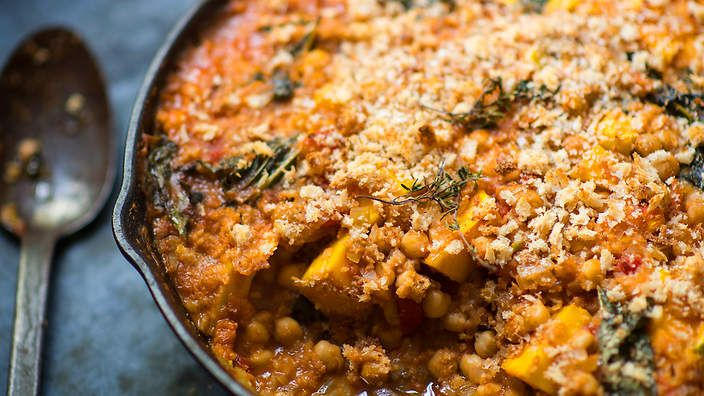 """Call it a """"cassoulet"""" or """"stew thing with crumbs"""", Matthew Evans' chickpe, pumpkin and cavolo nero bake is a vegetarian's dream."""