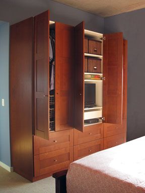 Materials: Akurum/Adel with Komplement wire baskets Description: The beautiful warm wood finish of the ADEL kitchen door and drawer fronts suited our master bedroom decor better than any of the finishes in the PAX closet line. So we decided to make our bedroom closet out of kitchen cabinets. But the AKURUM kitchen cabinets didn't have [