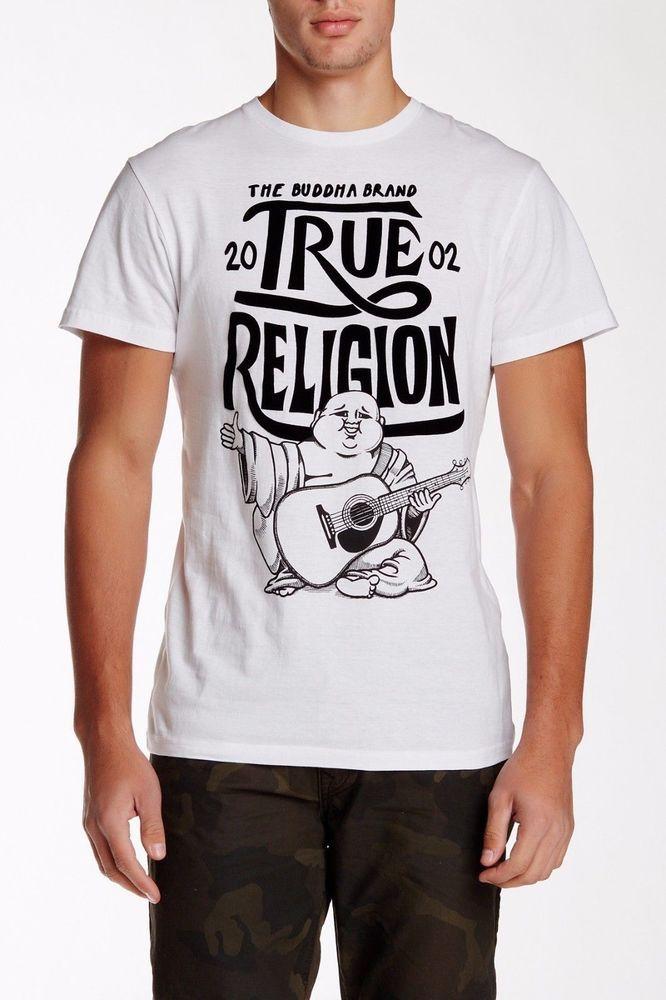 Men TRUE RELIGION Buddha Crew Graphic Logo T-shirt Top White Black S,M,L,XL,XXL #TrueReligion #GraphicTee