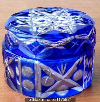 шкатулка пудреница кобальтовое стекло красивая резьба Германия 50-е г.г