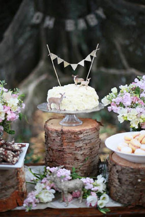 Rustic Nature Inspired Woodland Baby Shower With Tree Backdrop Dessert Table Cake On Wood Trunk