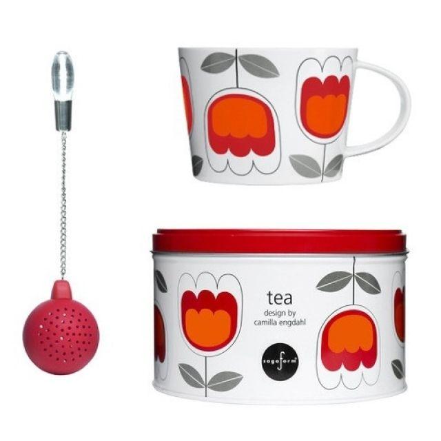 Filiżanka z silikonową zaparzaczką Tea czerwona