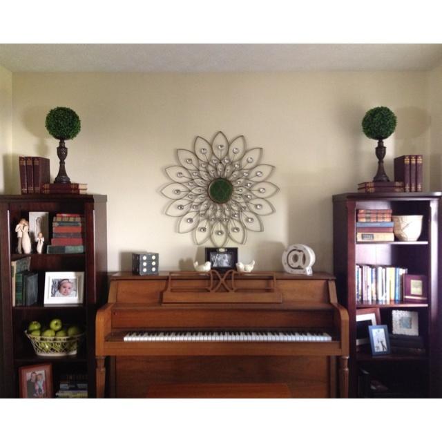 Piano Room Decor Bookcases Starburst Mirror