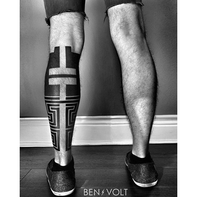 Finished this conceptual and linear piece for Jesse. Centered around an abstract equality sign on the back; fusing inspirations of op art and heavy black #Marquesan tattoos. To be matched on the other leg next. Thanks so much! #benvolt #blackwork #tattoo #tattoos #graphicdesign #blackworkerssubmission #form8tattoo #sanfrancisco #marquesantattoos